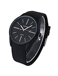 Comtex Mens Watches Analog Quartz Sport Watch Waterproof Rubber Black Watch (balck)