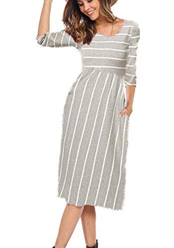 Halife Women's 3 4 Sleeve Stripe Elastic Waist Casual Dress with Pocket (S, Gray)