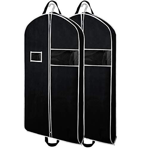 Zilink Garment Bags Suit Bag for Travel 43-inch Breathable Suit Garment Cover with Clear Window and ID Card Holder for Suite, Dresses, Coats, Set of 2