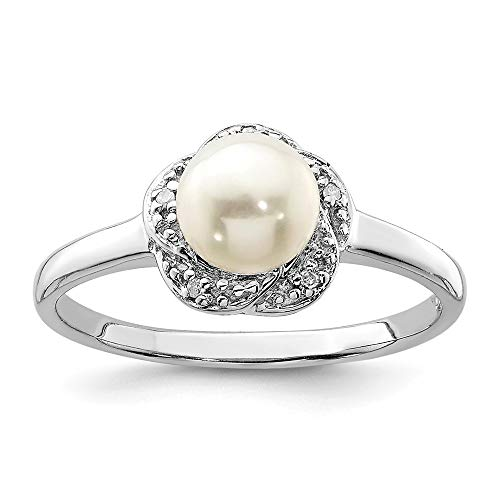 925 Sterling Silver 6mm Freshwater Cultured Button Pearl Diamond Band Ring Size 6.00 Fine Jewelry Gifts For Women For Her