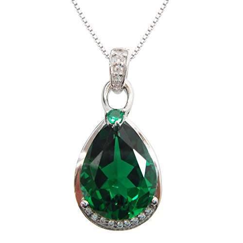 Navachi 925 Sterling Silver 18k White Gold Plated 8.0ct Pear Emerald Az9638p Necklace Pendant -