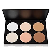 6 Colour Pressed Powder Palette, Vodisa Contour Face Powder Kit Base Foundation Corrector Palette-Sleek Pigment Cosmetics Highlighting Contouring Bronzing Professional Beauty Make up Bronzer Pallet