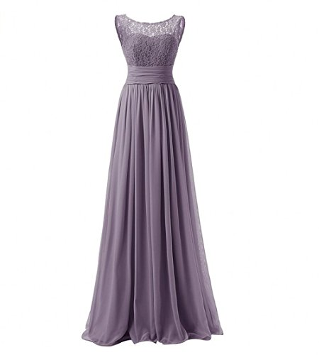 KA Beauty Women\'s Long Prom Dress Lace Chiffon Evening Dresses Grau ...