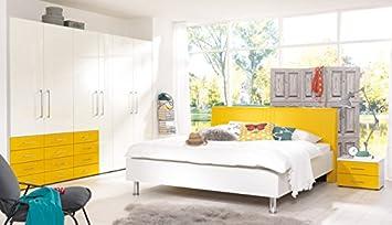 Welle KSW 5+ Schlafzimmer weiß / ginstergelb Hochglanz u. mehr ...