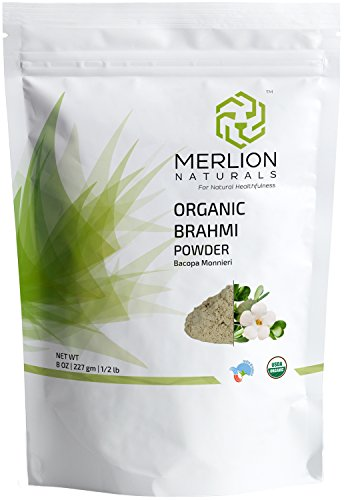 Merlion Naturals Organic Brahmi Leaves Powder (Bacopa Monnieri) - 227 g / 8 OZ / 1/2 lb | USDA NOP Certified 100% Organic | Vegan