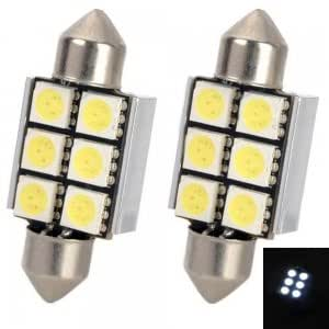 5050 36mm 3W 8000K 72lm 6 SMD LED Car Dome Festoon Reading Lamp Light Bulbs White (12V / Pair)