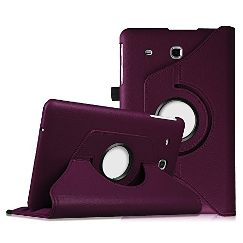 Fintie Samsung Galaxy Tab E 9.6 Case - Premium PU Leather 360 Degree Rotating Cover Swivel Stand for Samsung Tab E Wi-Fi / Tab E Nook / Tab E Verizon 9.6-Inch Tablet, Purple (360 Nook Case Color)