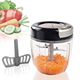 MIGECON Manual Food Chopper with 5 Blades, Hand Pull Blender Grinder for Vegetables/Meats/Fruits/Salad/Herbs/Onions/Garlic, 3.5 Cup Food Processor (Black)