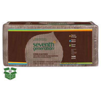 Seventh Generation 13705CT 100% Recycled Napkins, 1-Ply, 12 x 12, Unbleached, 500/Pack, 12 Packs/CT