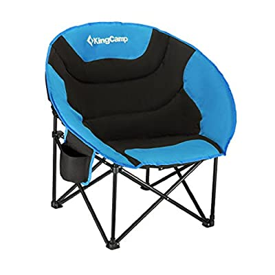 KingCamp Moon Saucer Camping Leisure Chair with Cup Holder Steel Frame Folding Padded Round Portable Stable with Carry Bag
