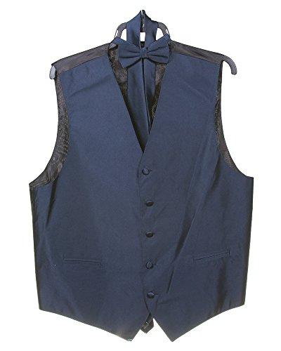 Men's Solid 4pc Dress Formal Vest Set (Vest, Bow Tie, Necktie, Hanky Set)Size L Navy by Milani