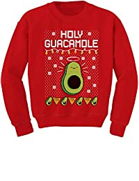Tstars Funny Avocado & Nachos Holy Guacamole Ugly Christmas Youth Kids Sweatshirt