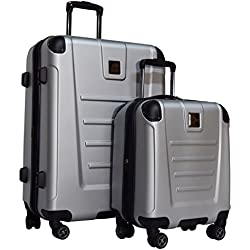 "Kenneth Cole Reaction Get Away 2-Piece Expandable Upright Luggage Spinner Set: 25"" and 16"" Carry On Under Seat Bag (Light Silver)"