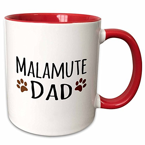 3dRose mug_153943_5 Malamute Dog Dad Breed-Brown Muddy Paw Prints-Doggy Lover Ceramic, 11 oz, Red/White