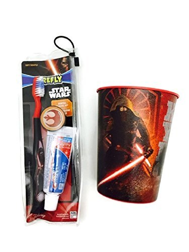 Kylo Ren Toothbrush Bundle Cup Travel Kit Toothpaste Dental Hygiene Star Wars