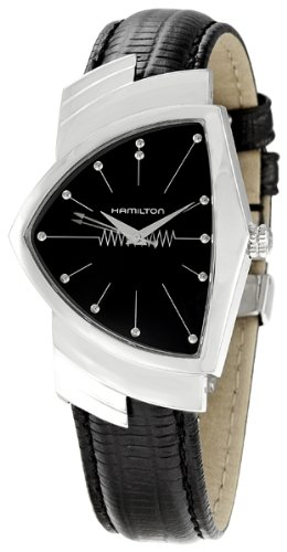 Hamilton Mens汉密尔顿 Ventura Stainless Steel Watch with Black Leather Band