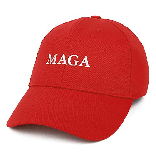 Armycrew Made in USA Donald Trump MAGA Embroidered Structured Cotton Ball Cap - Red