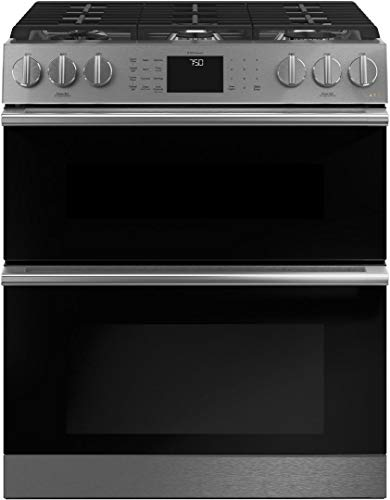 GE Cafe CGS750M2NS5 Modern Glass Series 30 Inch Platinum Slide-in Gas Convection Range