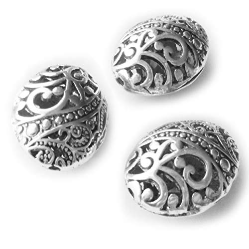 Heather's cf 10 Pcs Silver Hollow Tibetan Beads for Necklace Making Big Oval Spacer