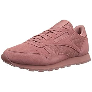 Reebok Women's CL Lthr Lace Sneaker, Sandy Rose/White, 8 M US