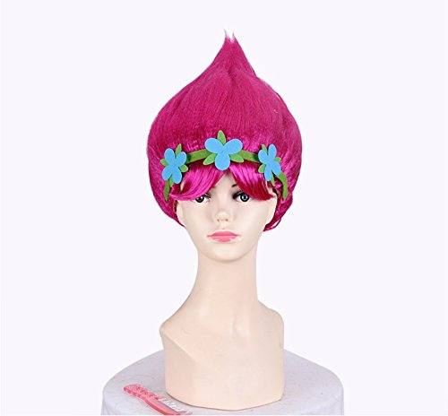 Cosplay Costumes Comiccon (Pink Trolls Wigs For Cosplay Costume, Halloween Party, Comic-con Conventions, Role play, Dress-up, Theme Birthday Parties)