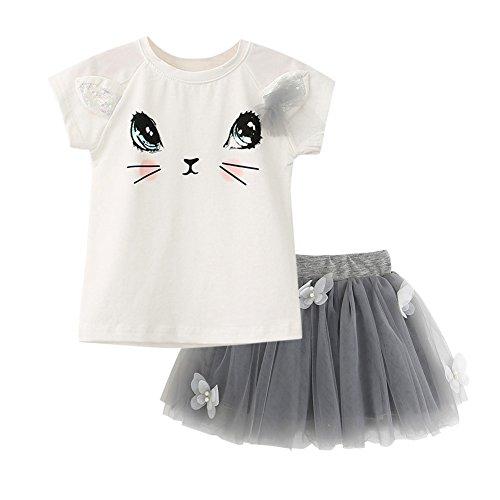 Wyhui New Kids Girls Cat T-Shirts+Net Veil Tutu Skirt Short Sleeve Cartoon Kitten Printed Clothes Set White 5t ()