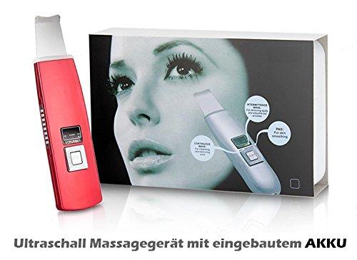 Wiederaufladbares Ultraschall Skin Scrubber Gesichts-Peeling Massagegerät mit eingebautem AKKU - Metalic Rot