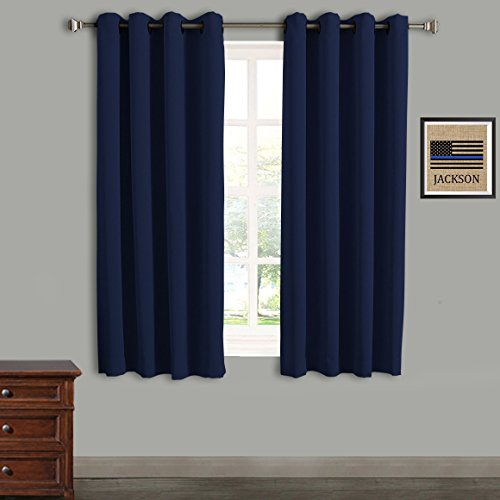 Rose Home Fashion RHF Blackout Thermal Insulated Curtain - Antique Bronze Grommet Top for bedroom-Set of 2 Panels-52W by 63L Inches-Navy-5263p2 by Rose Home Fashion
