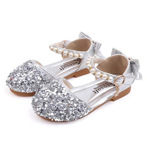 Leisuraly Girls Sandals Big Kids' Ballet Flats Sequins Pearl Ankle Strap Princess Party Wedding Dress Shoes Silver