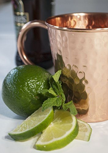 Moscow Mule Full Copper Mug - Authentic Solid Pure All Copper Cup - 16oz Tapered Design -Hand Hammered Finish - By Stubborn Mule