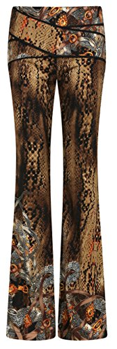 Wantdo Women's Leopard Casual Chiffon Bootcut Pant, Small 411PTzr9AbL
