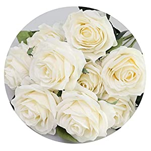 Artificial Silk 1 Bunch French Rose Floral Bouquet Fake Flower Arrange Table Daisy Wedding Flowers Party Accessory Flores,Beige 91