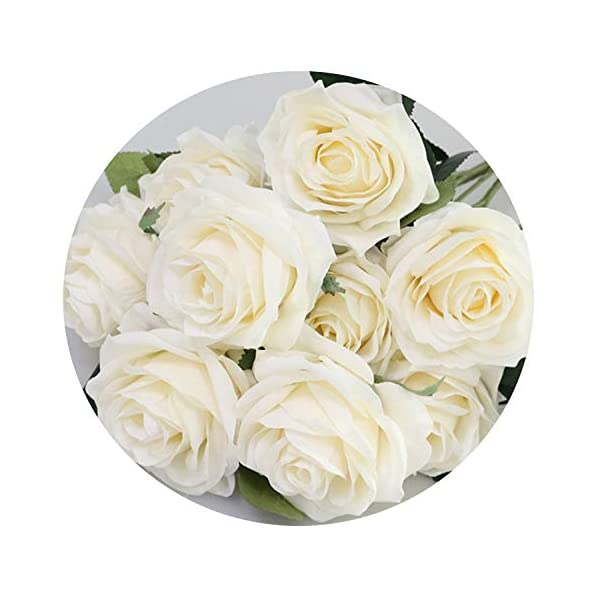 Artificial Silk 1 Bunch French Rose Floral Bouquet Fake Flower Arrange Table Daisy Wedding Flowers Party Accessory Flores,Beige