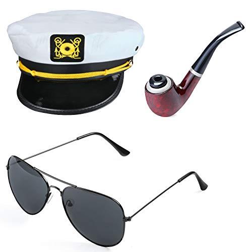 Beelittle Yacht Captain Hat Costume Accessories Set Adjustable Boat Sailor Ship Skipper Cap Aviator Sunglasses Tobacco Pipe with Anchor Design Accessories (A) -