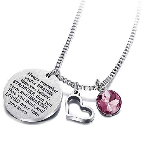 - 17mile June Birthstone Necklace Stainless Steel Engraved Hypoallergenic Heart Zirconia Necklace Charm for Woman Man Girl Mother