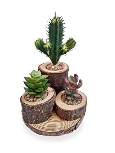 Conj. Suculenta Arranjo Flor Artificial Vaso Madeira Rústico
