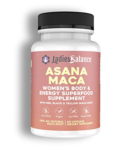Asana Maca Organic Maca Root Made for Women ~ by LadiesBalance Black, Red & Yellow Maca Root Powder Blend