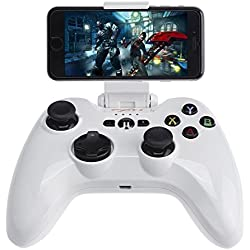 Bluetooth Gamepad, CEStore [Apple MFi Certified] Speedy Wireless iOS Gaming Controller Joystick Joypad with Phone Clamp Holder for iPhone 7 6S Plus 6 5S, iPad Air 2 Mini 4 3 Pro, Apple TV - White