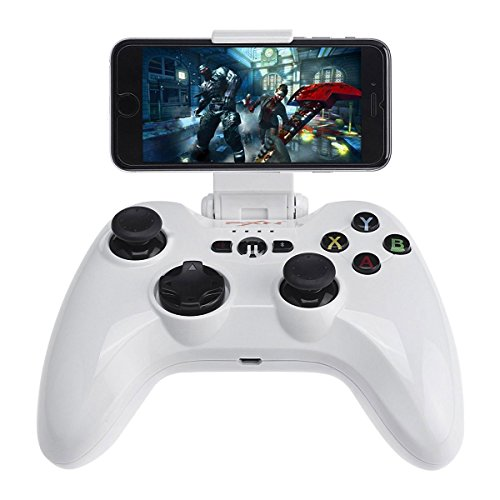 Smartephone Remote Gamepad, Megadream MFi iOS Gaming Wireless Controller Joystick Compatible with iPhone Xs XR X 8 8Plus 7 7Plus 6S 6, iPad Air, iPad Mini 4, iPad Pro, Apple TV, iPod Touch 5 - White