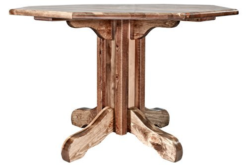 Montana Woodworks Homestead Collection Center Pedestal Table with Round Table Top, Stain and Lacquer Finish