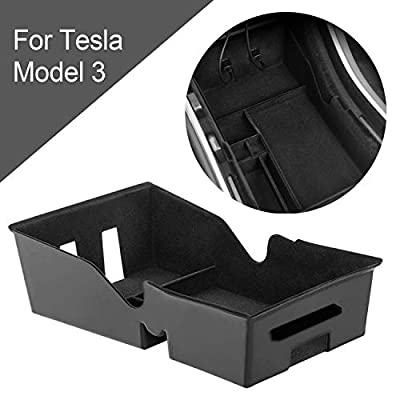 Triwin Organizer for Tesla Model 3 2018 2019 2020 Flock Organizer for Tesla Model 3 Center Console Store Tesla J1772 Charging Adapter, Sunglasses, and Other Items