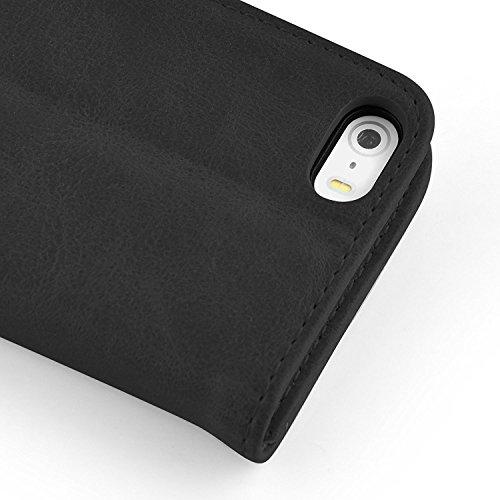 VSHOP ® Étui pour Apple iPhone 5 / 5S Cuir Housse de Coque en Portefeuille Protection Case Étui à rabat Noir
