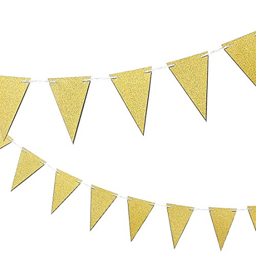 Happy Birthday Banner Triangle Garland - Elegant Party Bunting Flags Decorations Birthday Party Supplies, Gold
