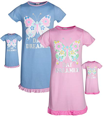 BFF & ME Girls Nightgown Pajama Set with Matching Doll Pajama (2 Pack) (Butterfly, 7-8)' -