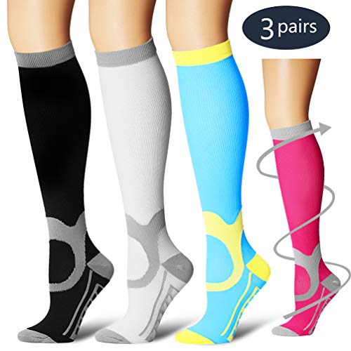 Laite Hebe Compression Socks,(3 Pairs) Compression Sock for Women & Men - Best for Running, Athletic Sports, Crossfit, Flight Travel(Multti-colors11-L/XL) ()