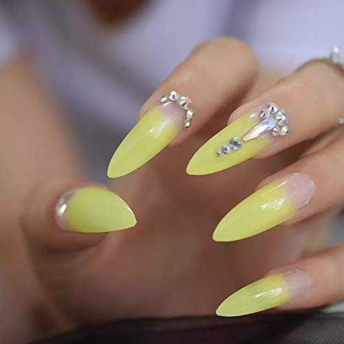 EDA LUXURY BEAUTY NUDE YELLOW OMBRE FRENCH GLAMOROUS 3D JEWEL DESIGN Full Cover Press On Gel Glitter Artificial Tips Extreme False Nails Extra Long Sharp Round Almond Stiletto Super Fashion Fake Nails
