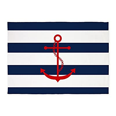 CafePress - Red Anchor On Blue Stripes - Decorative Area Rug, 5'x7' Throw Rug