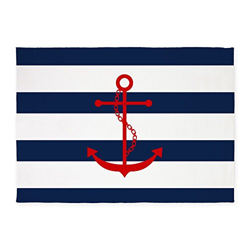 CafePress Red Anchor On Blue Stripes Decorative Area Rug, 5'x7' Throw Rug - Anchors Away Blue Rug