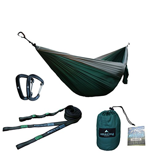 "Double Parachute Camping Hammock with Tree Straps | Lightweight Carabiners and Straps Included | For Backpacking, Camping, Hiking, Travel, Beach, Yard, 125"" x 79"""