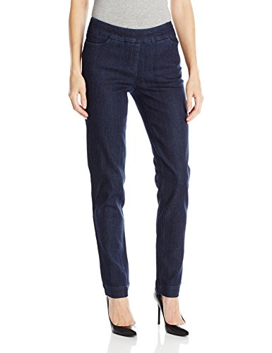 - SLIM-SATION Women's Wide Band Pull On Straight Leg Pant with Front Pocket, Denim, 10
